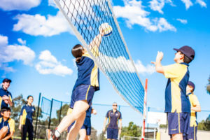 Students playing volleyball at Clancy Catholic College West Hoxton
