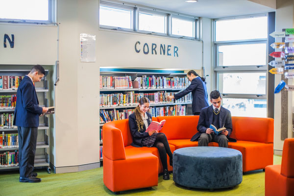 Students reading in school library at Clancy Catholic College West Hoxton
